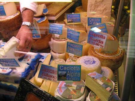 ジェノバの市場チーズ