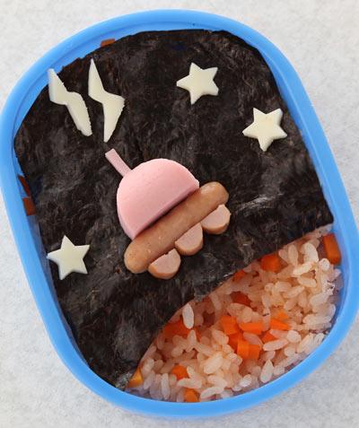 かんたん海苔弁お絵かき-UFO弁当