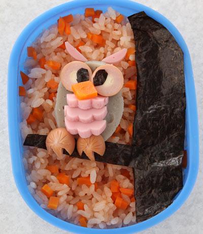 かんたん海苔弁お絵かき-ふくろう弁当