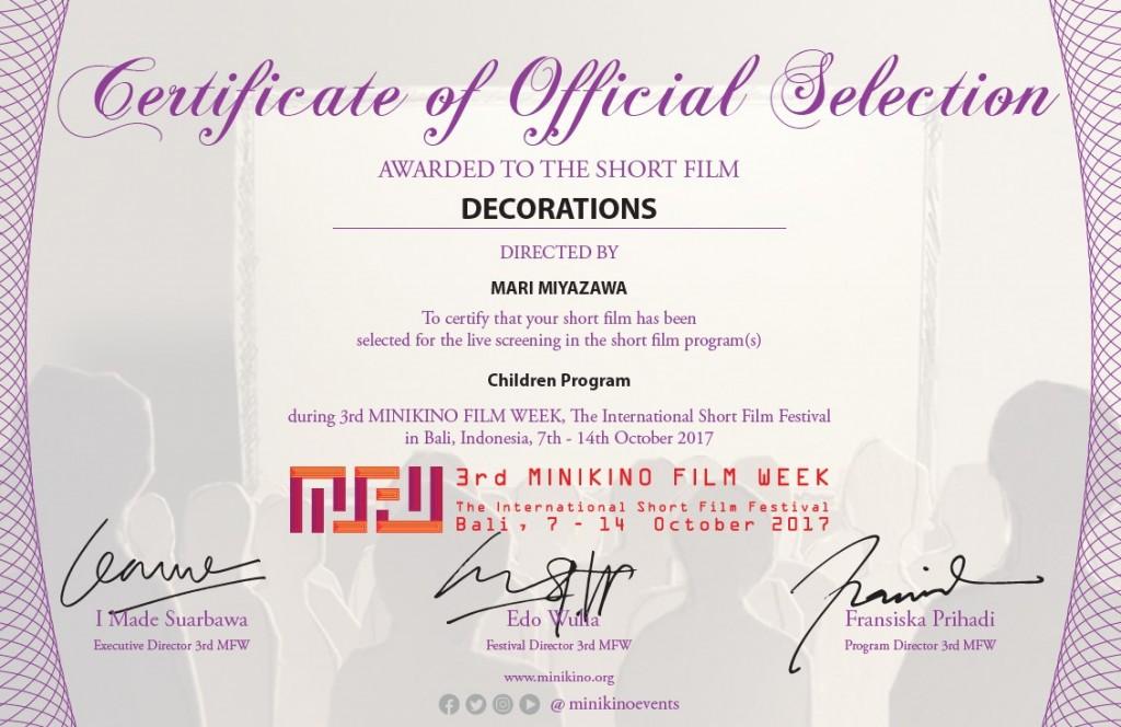 Minikino Film Week Awarded to the Short Film