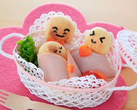 パンとハムで作るハッピー親子
