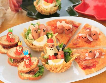 タコカナッペ ポテトのソリにのったサンタとトナカイとお昼ねうさぎ