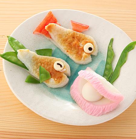 かまぼこでお魚と真珠貝をつくる
