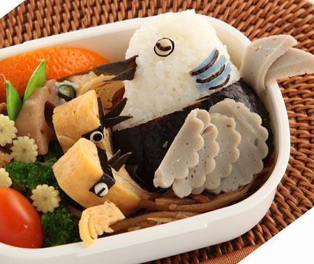20100806祝キジバト巣立ち弁当-おにぎりでハトを作る