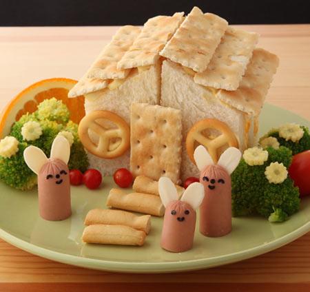 サンドイッチでログハウス