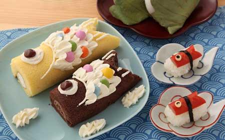 ロールケーキで鯉のぼり