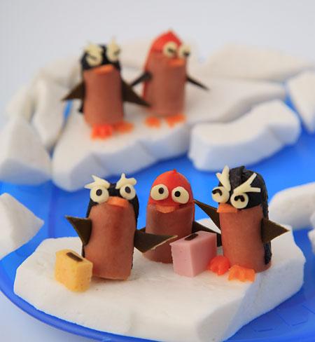 ペンギン夏の終わりの旅たち 飾り切り ウィンナー